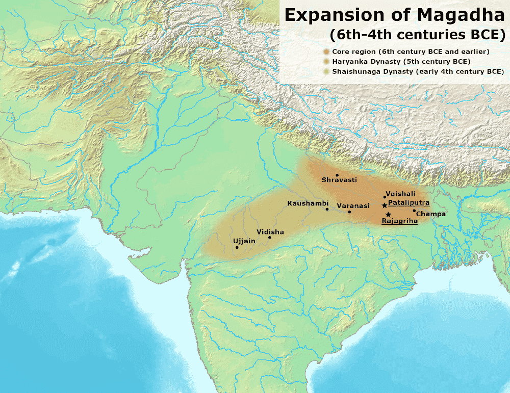 This map represents the expantion of magadha dynasty in the reign of Haryak Dynasty