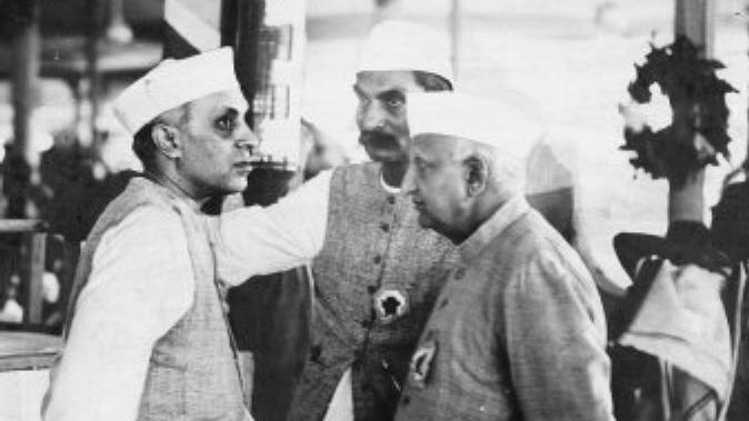 Pt. Jawahar Lal Nehru, Bhulabhai Desai and Dr. Rajendra prasad in one image.