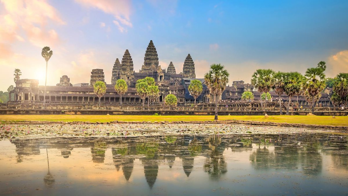 Angkor Wat is a temple dedicated to lord Vishnu and also to Buddha. It was built by Suryavarman II.
